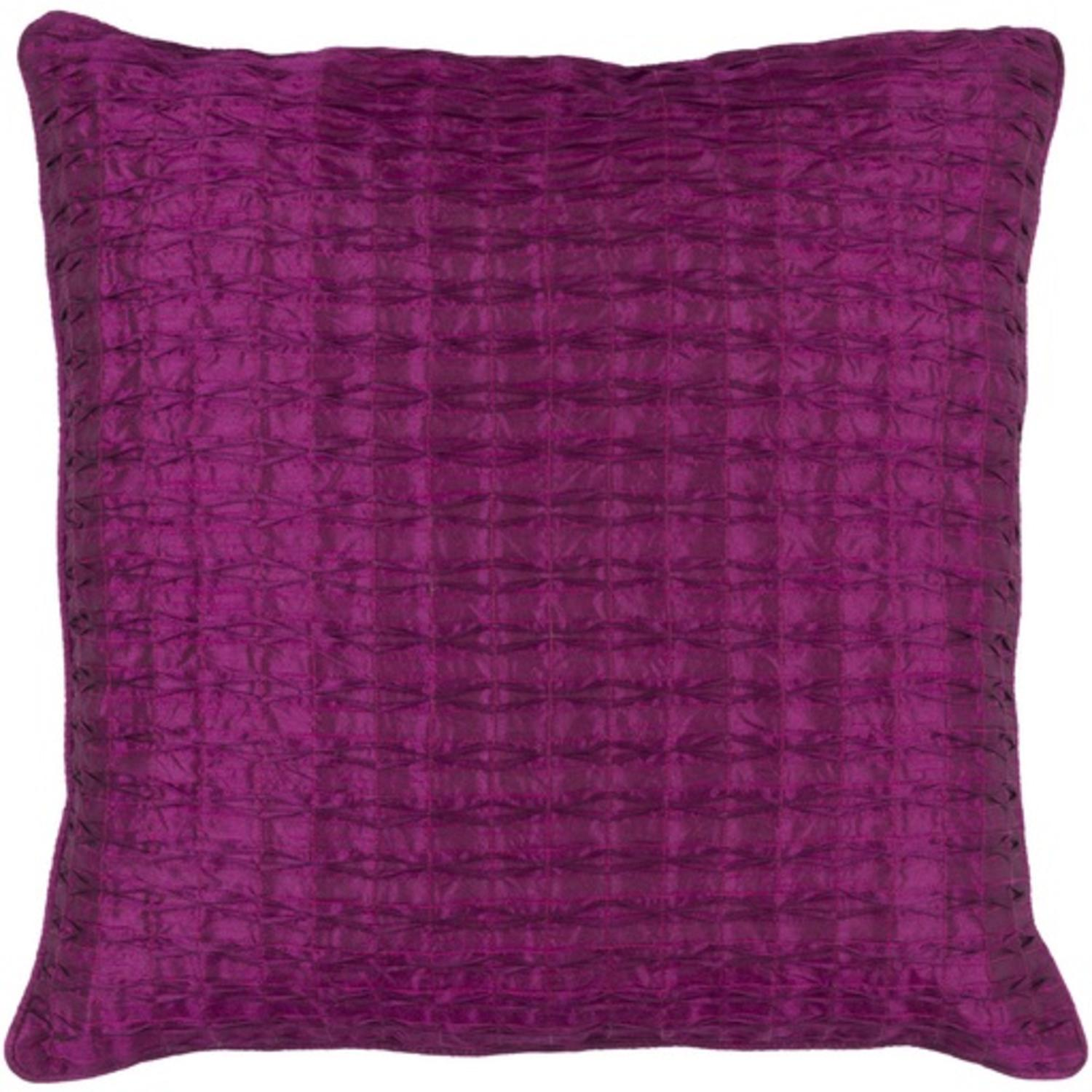 "18"" Decorative Fuchsia Purple Quilted Linens Throw Pillow"