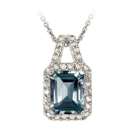 Sterling Silver 3.4ct London Blue Topaz and Diamond Accent - Blue Topaz Diamond Necklace