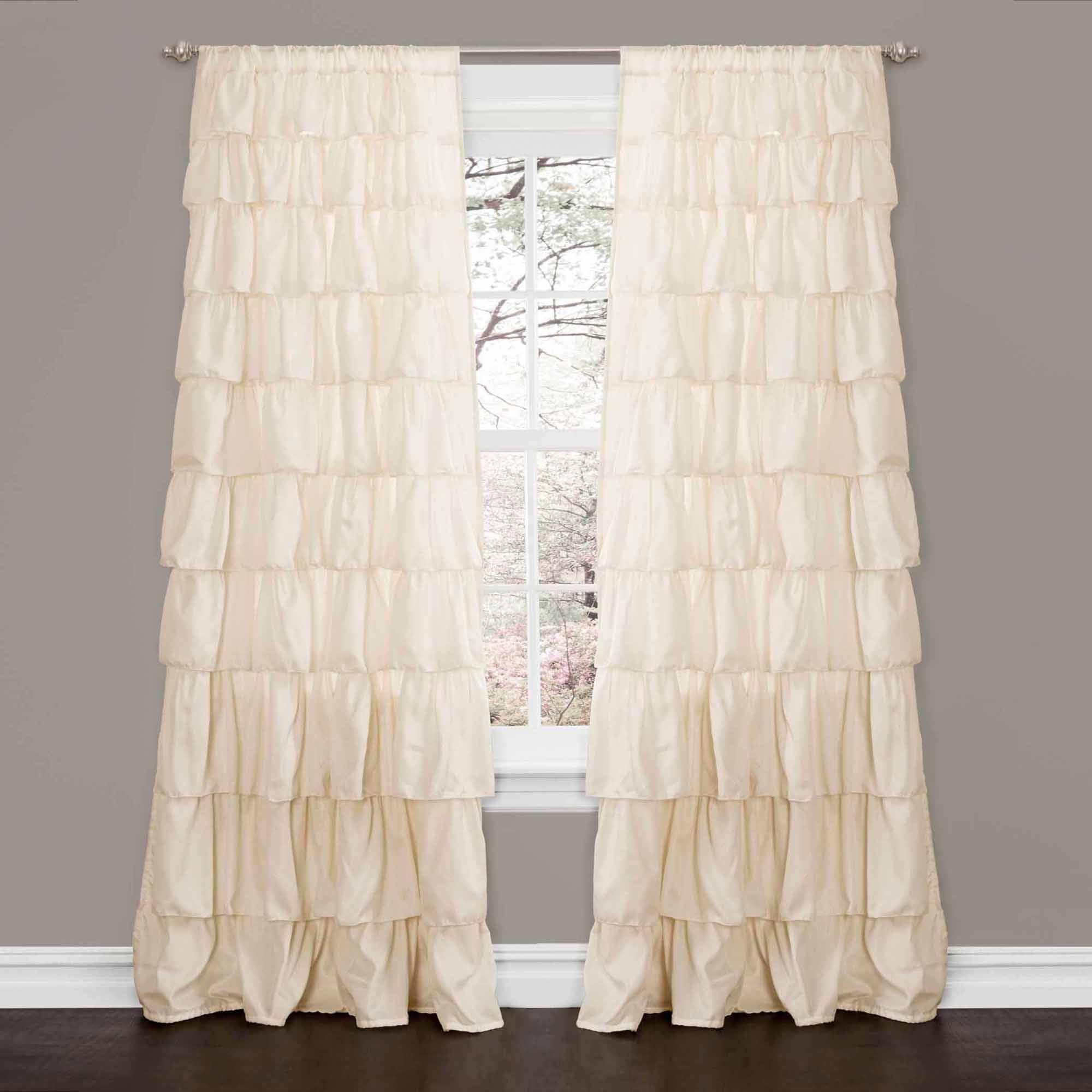 Black ruffle curtains - Ruffle Ivory Window Curtain