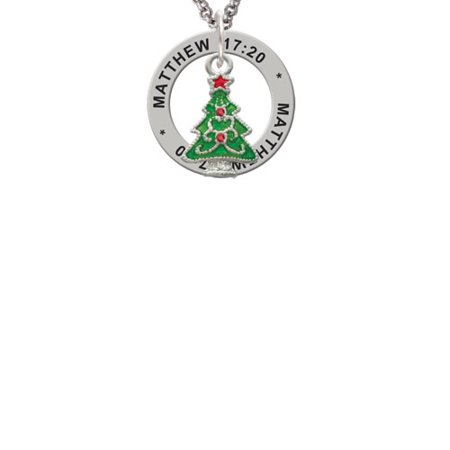 Green Christmas Tree with Red Crystals Matthew 17:20 Affirmation Ring Necklace - Christmas Light Necklaces