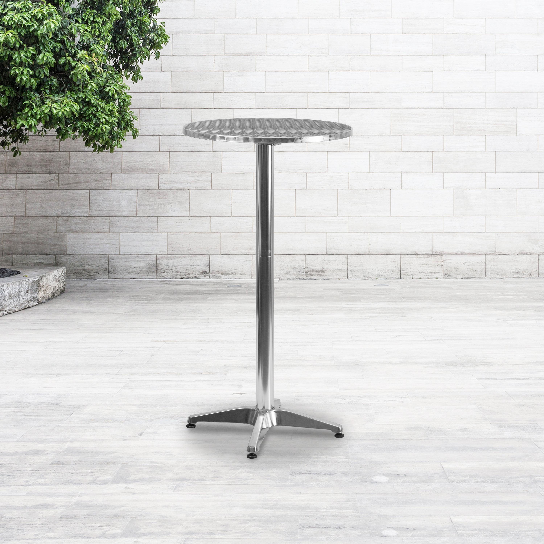 Flash Furniture 23 25 Round Aluminum, Outdoor Bar Height Pub Tables
