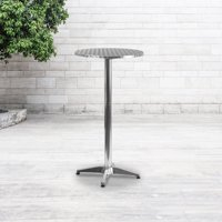 Flash Furniture 25.5'' Round Aluminum Indoor-Outdoor Folding Bar Height Table with Base