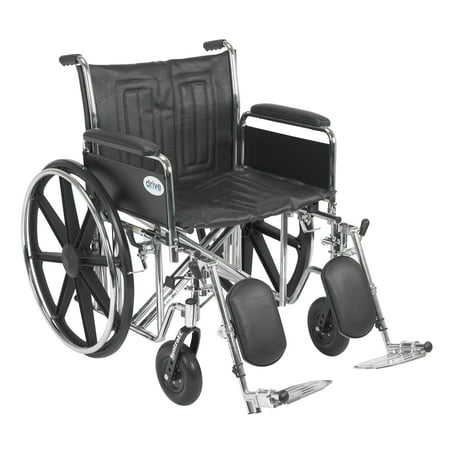 Drive Medical Sentra EC Heavy Duty Wheelchair, Detachable Full Arms, Elevating Leg Rests, 22