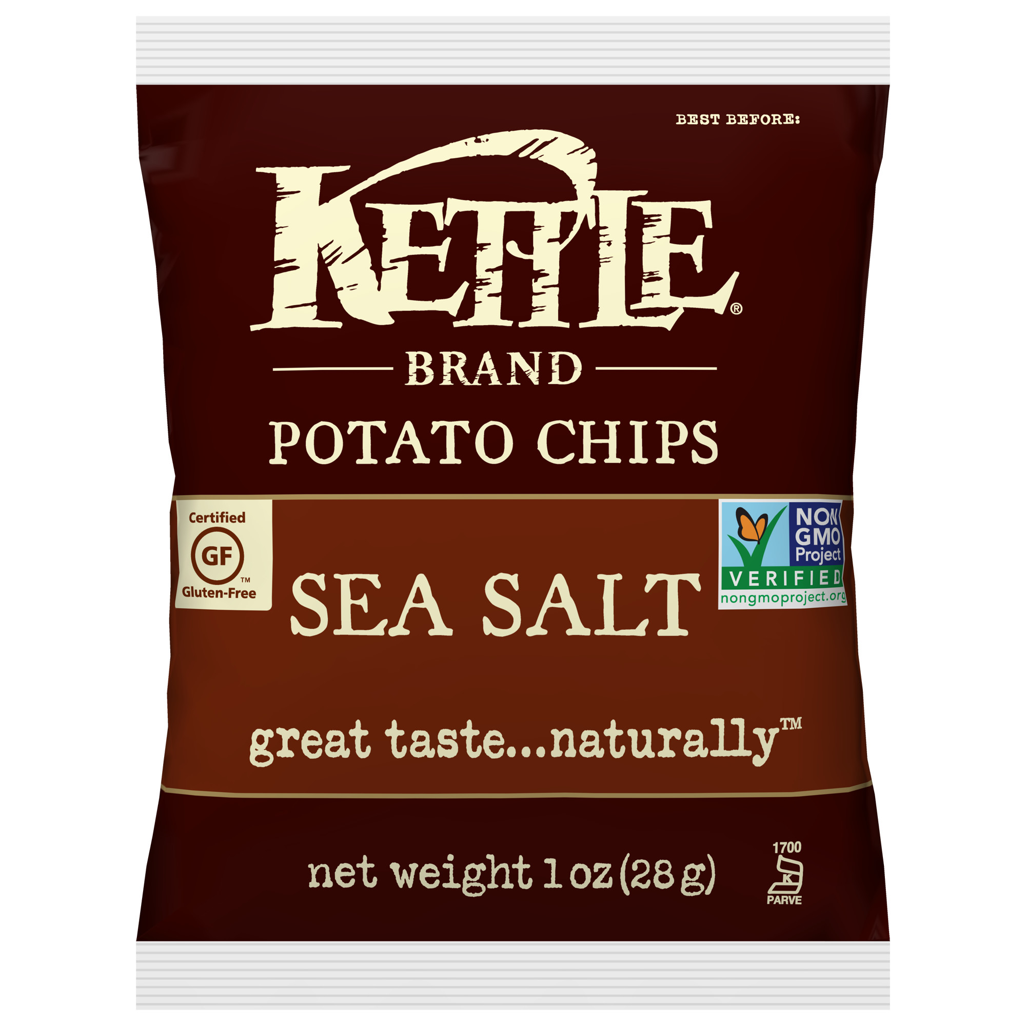 Kettle Brand Sea Salt Potato Chips, Single-Serve 1 Oz, 72 Ct