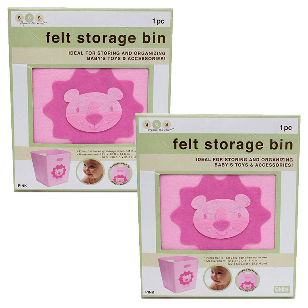 "Collapsible Felt Storage Bins - 12"" X 12"" 14"" (Pink Lion) (2 Pack)"