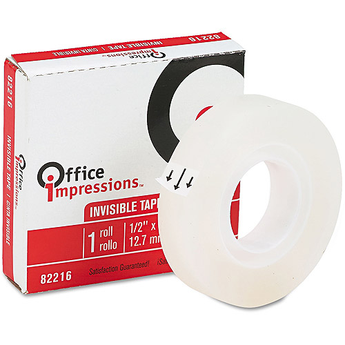 "Office Impressions Invisible Tape, 0.5"" x 1,296"", 12 Count"