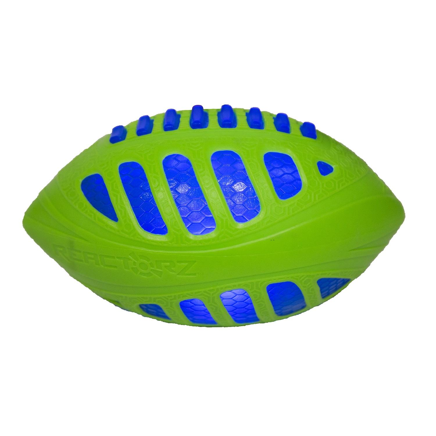 "9"" Cobalt Blue and Lime Green LED Lighted Reactorz Football Outdoor Sport Toy"