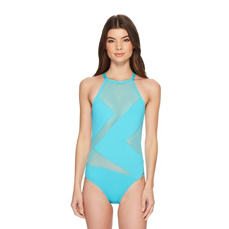 Michael Kors Women Layered Illusion 1-Piece Mesh Swimsuit 3H251 Turquoise