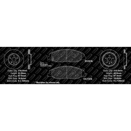 Max Brakes Front & Rear Premium Brake Kit [ OE Series Rotors + Metallic Pads ] TA098643   Fits: 2014 14 Cadillac CTS 315mm Diameter Front Rotors - image 3 de 8