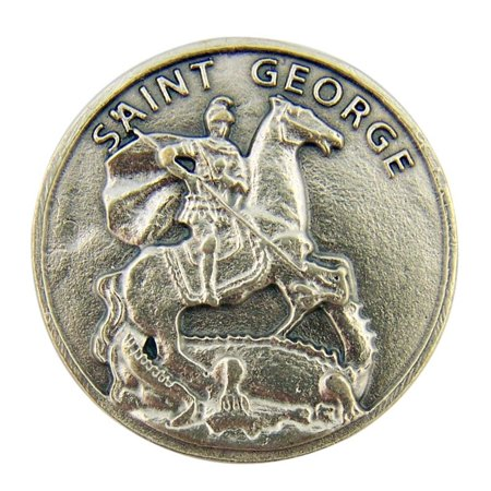 - Protector Against Evil Saint George 1 1/8 Inch Silver Tone Pocket Token