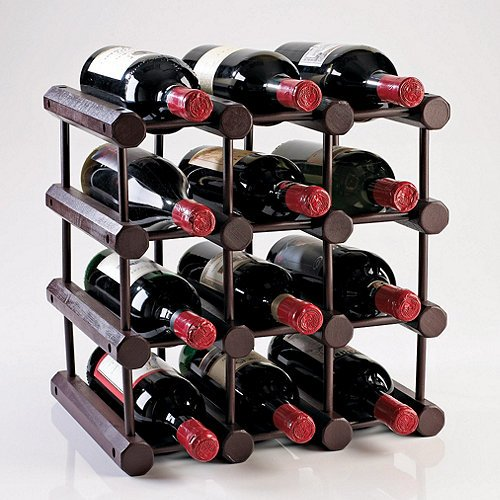 "Wine Enthusiast 640 11 02 Modular 12 Bottle Wine Rack - X 11"" Depth - 12 X Bottle - Mahogany (6401102)"