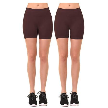 Women's 2 Pk Plus Size Seamless Stretch Yoga Exercise Shorts Bike Shorts (1X-2X) Brown ()