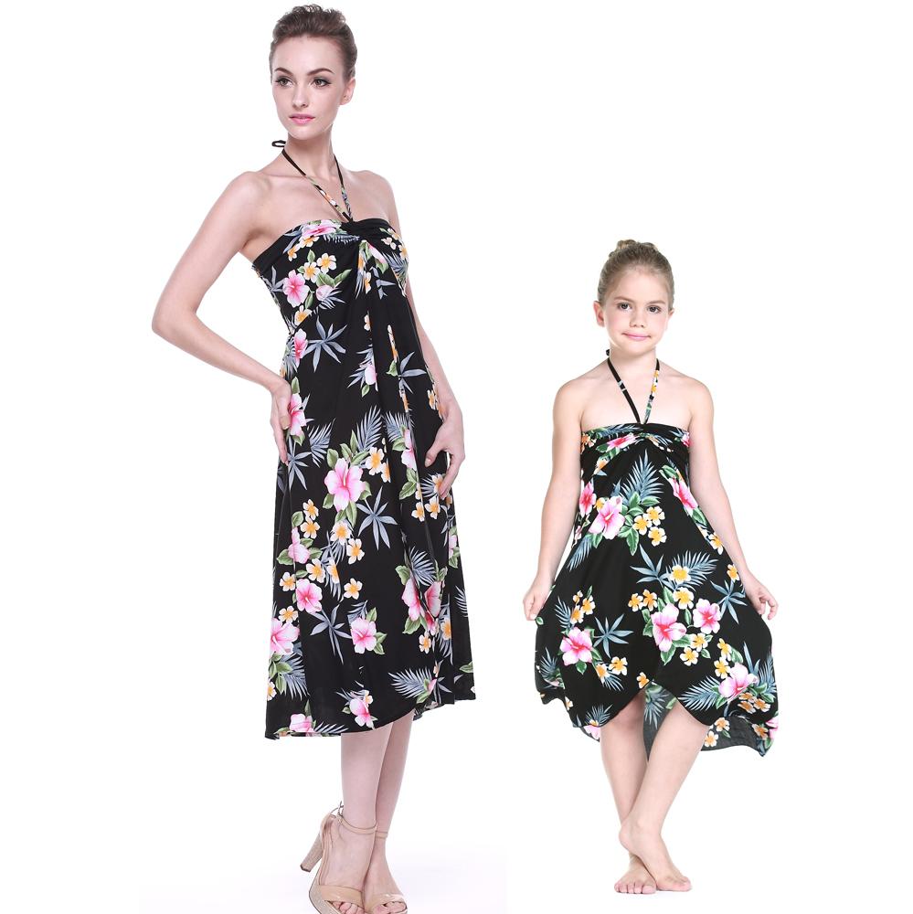 Matching Hawaiian Luau Mother Daughter Butterfly Dress in...