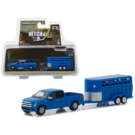 2016 Ford F-150 4X4 Pickup Truck with Livestock Trailer Blue Hitch & Tow Series 14 1/64 Diecast Models by
