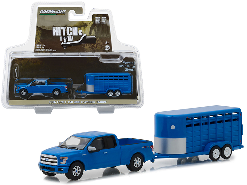 Greenlight 1:64 Hitch /& Tow 2016 Ford F-150 with Blue Livestock Trailer