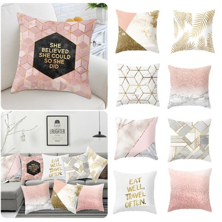 18 x 18 Inch Decorative Square Throw Pillow Cases Protectors Golden Shiny  Printed Cushion Covers for Sofa