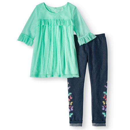 Ruffled Mesh Overlay Tunic and Legging, 2-Piece Outfit Set (Little Girls, Big Girls & Big Girls Plus) - Plus Size Mistress Outfit