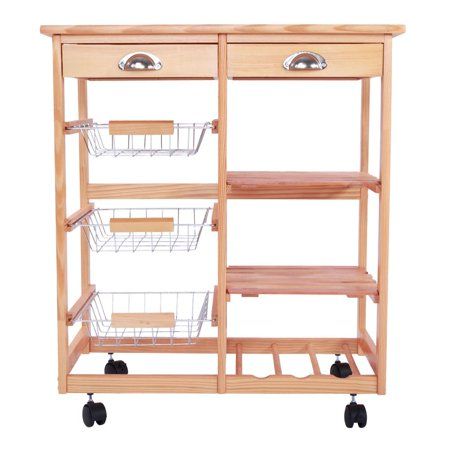 Ktaxon Rolling Wood Kitchen Trolley Island Utility Storage Cart With Drawers Baskets,On Wheels