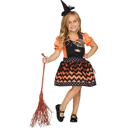 Classic Witch Instant Child Costume, One - Black And Orange Witch Costume