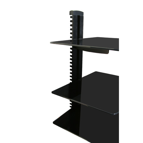 mountit wall mounted av component shelving system with 3 adjustable tempered glass shelves