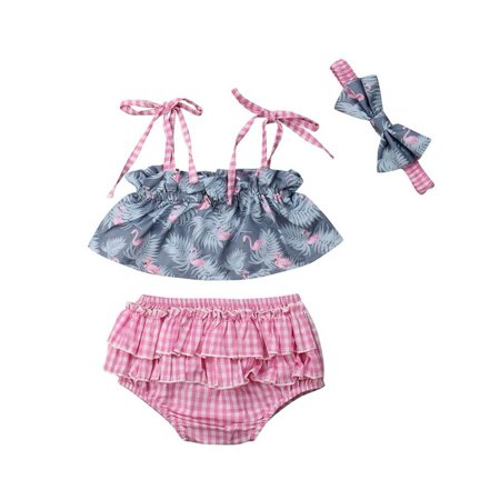 Newborn Baby Girls Flamingo Crop Tops Ruffle Bloomers Pink Plaid Skirt Shorts+Headband Outfit Clothes