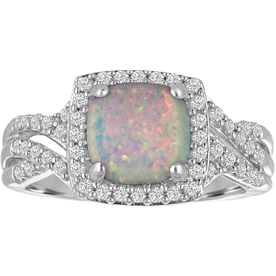 Lab-Created Opal with Cubic Zirconia Accents Sterling Silver Cushion Ring by Generic