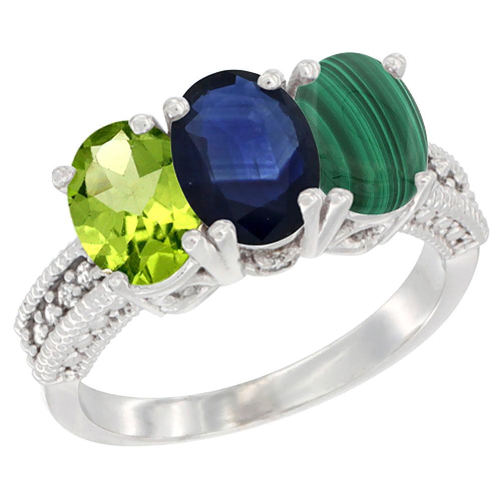 14K White Gold Natural Peridot, Blue Sapphire & Malachite Ring 3-Stone Oval 7x5 mm Diamond Accent, sizes 5 10 by WorldJewels