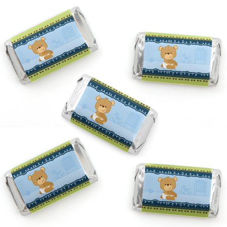 Baby Boy Teddy Bear - Mini Candy Bar Wrapper Stickers - Baby Shower Small Favors - 40 Count - Care Bear Baby Shower