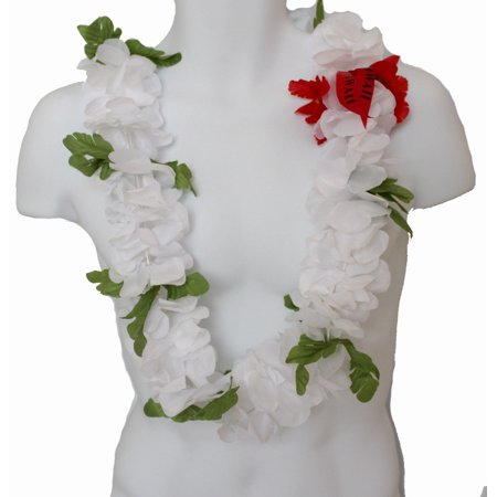 #35 White, Full Lei](Aloha Party Supplies)