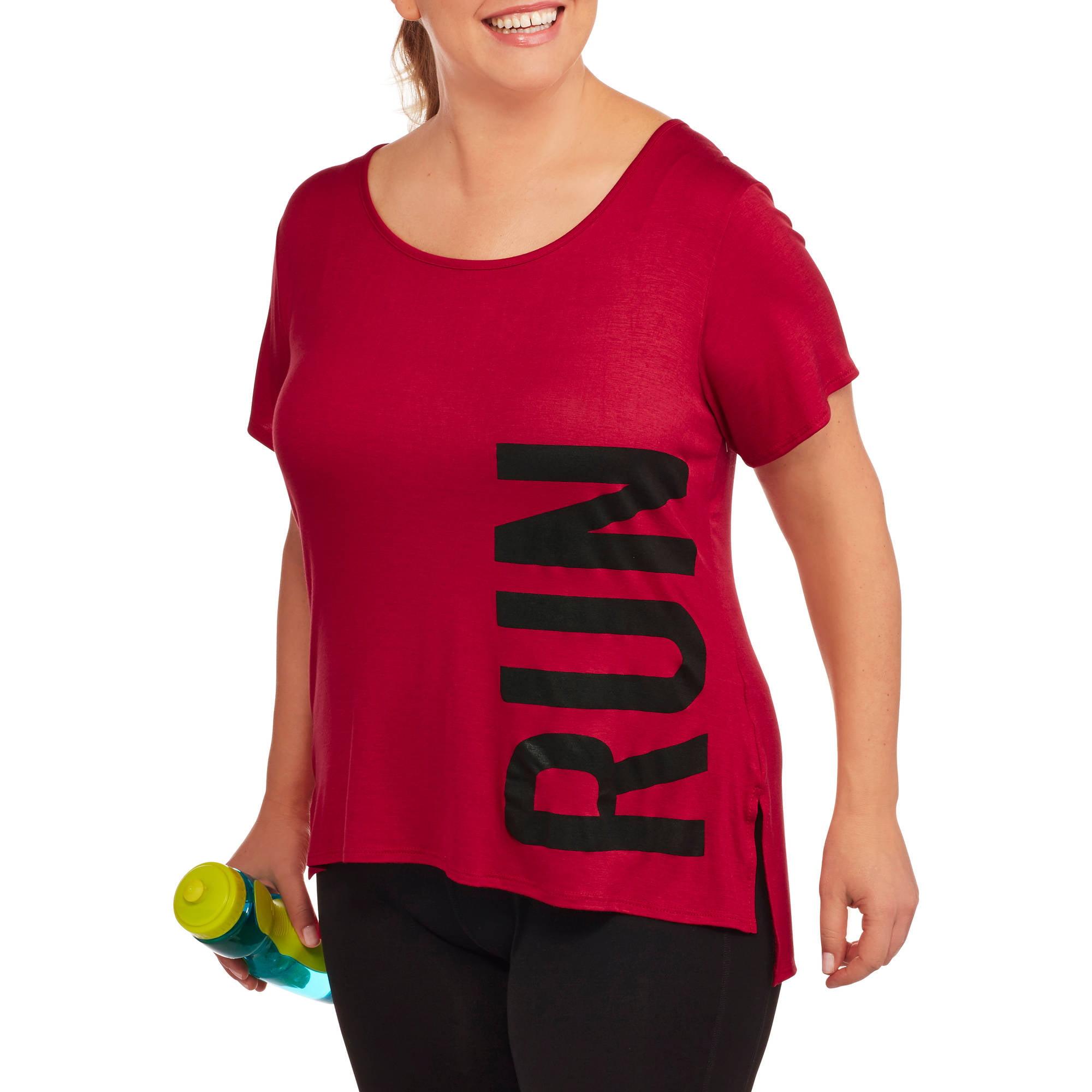 Fitspiration Women's Plus 'Run' Crew Neck Active Graphic T-Shirt