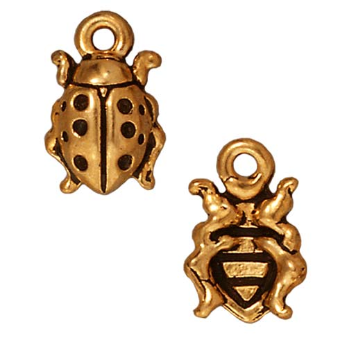 22K Gold Plated Pewter Ladybug Charm 12.5mm (1)