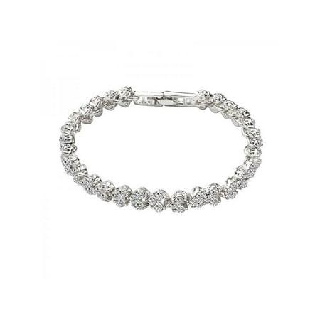 Lavaport Women Classic Cubic Zirconia Crystal Platinum Jewelry Bangle