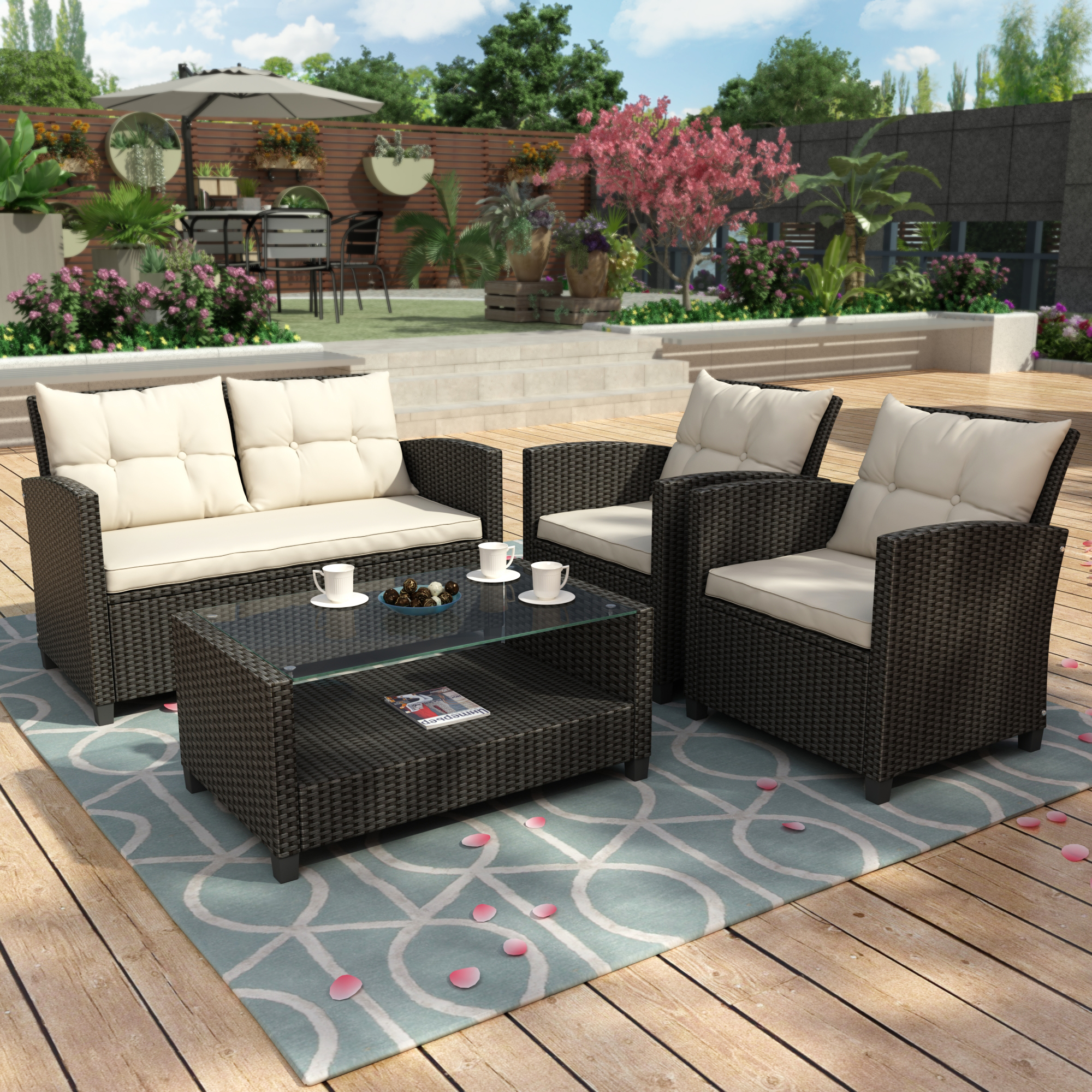 Clearance! Outdoor Wicker Sectional Sofa Set, 4 Piece ... on Outdoor Loveseat Sets id=37552