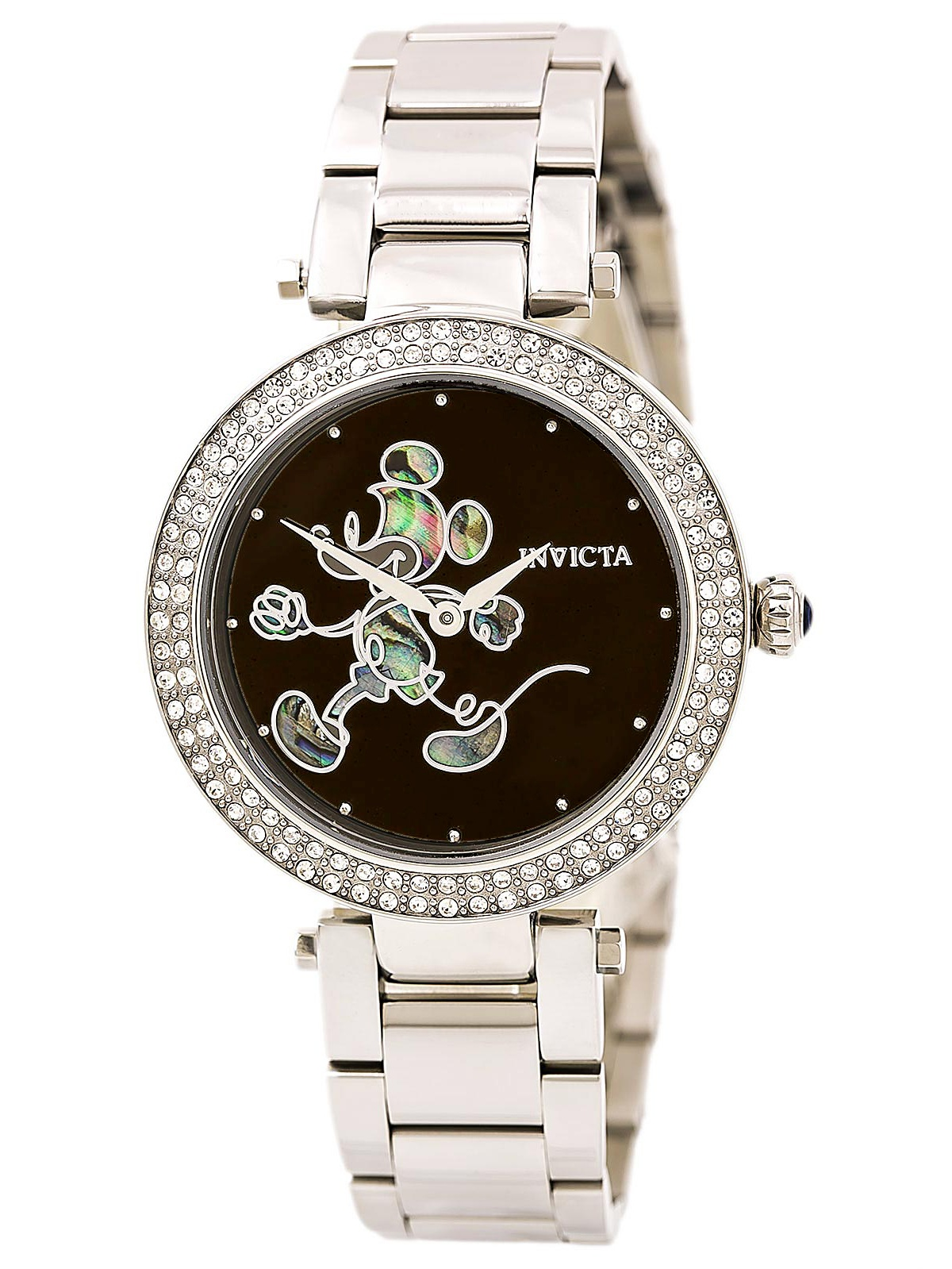 23780 Women's Disney Crystal Bezel Black Dial Stainless Steel Bracelet Watch