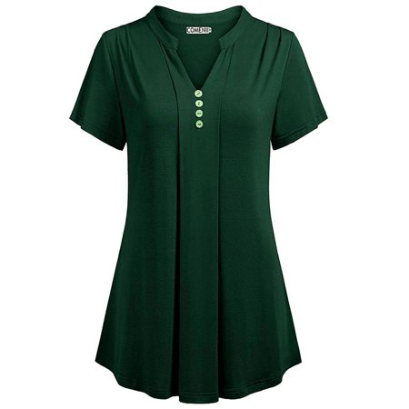Women Summer Casual Solid Short Sleeve Tops Sexy Deep V-neck Button Chemise Loose Blouse Cotton Silk T-shirt Plus Size