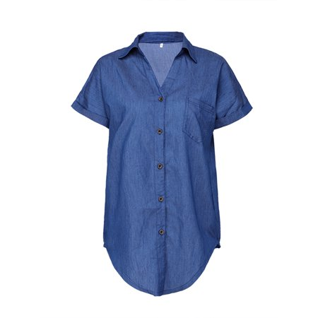 Women Casual Short Sleeve Casual Denim T Shirt Blouse Ladies Summer Button Loose Multiple Way Pocket Tops (Ladies Value Denim Shirt)