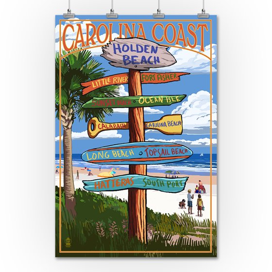 Holden Beach, North Carolina - Destinations Sign - Lantern Press Artwork  (12x18 Art Print, Wall Decor Travel Poster)