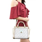 NWT Michael Kors Tina Small Top Zip Satchel Handbag Crossbody Vanilla MK Gold