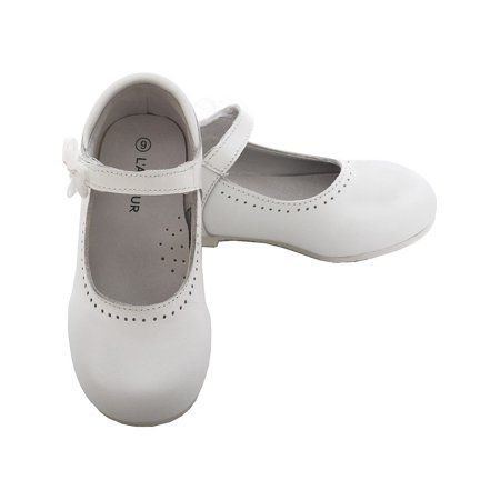 L'Amour White Leather Flower Mary Jane Velcro Shoe Toddler Girl 6-10 - White Mary Jane Shoes