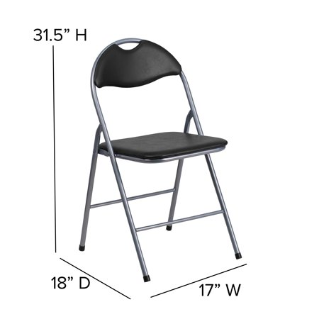 Flash Furniture 2 Pk. HERCULES Series Black Vinyl Metal Folding Chair with Carrying Handle