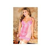 iCollection Suggestive Diva Sheer Mesh Chemise 8063XIB Pink