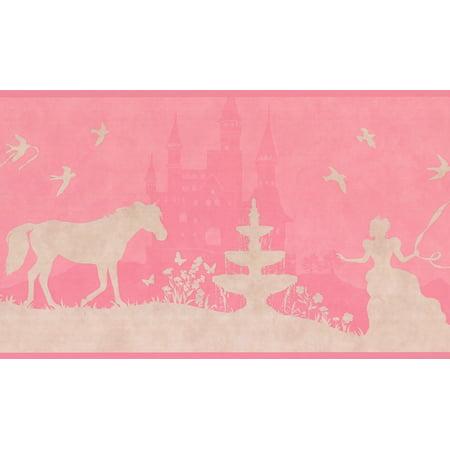 Princess Castle Horse Beige Hot Pink Wallpaper Border for Kids Bedroom  Bathroom Playroom, Roll 15\' x 9\
