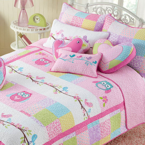 Cozy Line Home Fashion Pink Owl Quilt Set