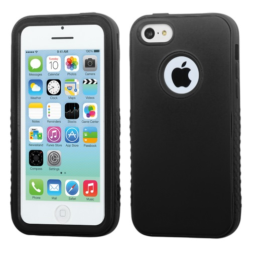 Apple iPhone 5C VERGE Hybrid Protector Case, Rubberized Black/Black