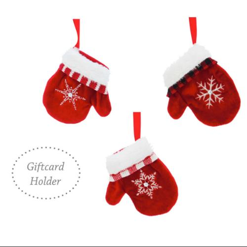 Set of 12 Holiday Gift-Card Holder Fabric Mitten Christmas Ornaments