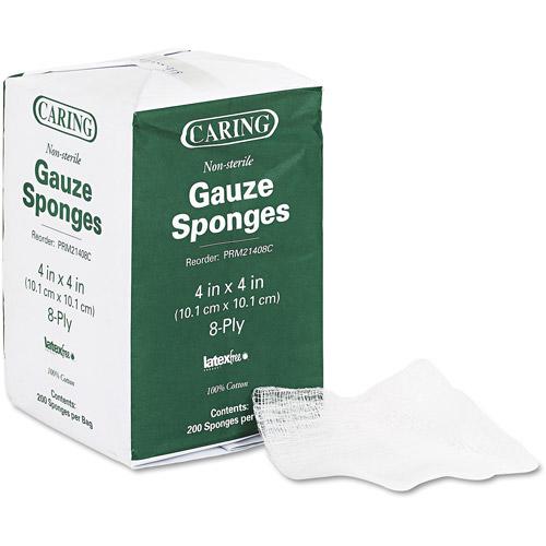 Medline Caring Non-Sterile Gauze Sponges, 200 count