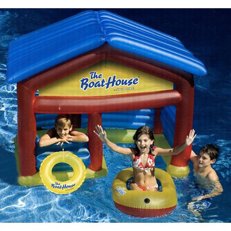 Water Sports Inflatable Swimming Pool Boat House Habitat with Raft and Buoy Ring