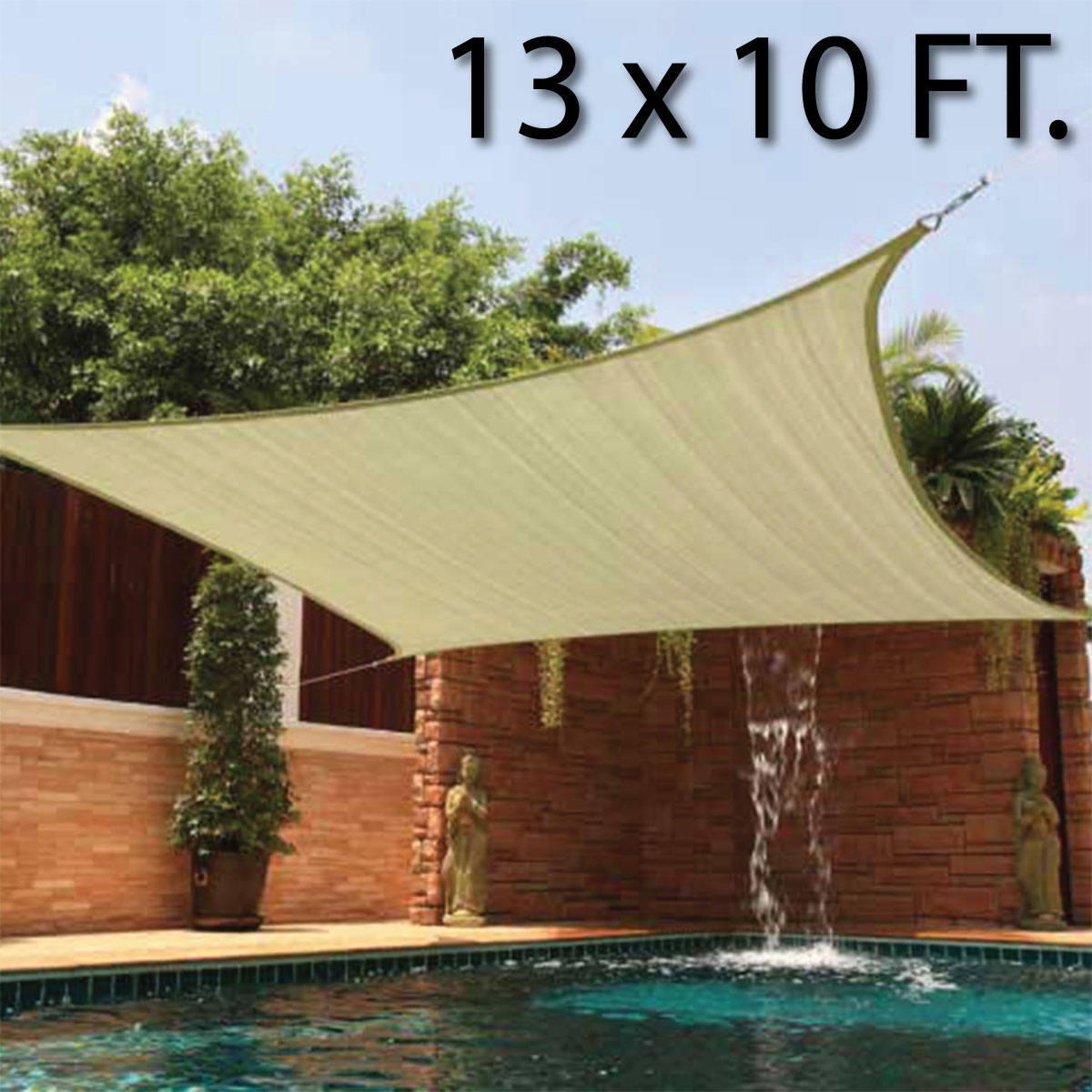 Superb 10 X 13u0027 FT Feet Rectangle UV Heavy Duty Sun Shade Sail Patio Cover Sand  Canopy   Walmart.com