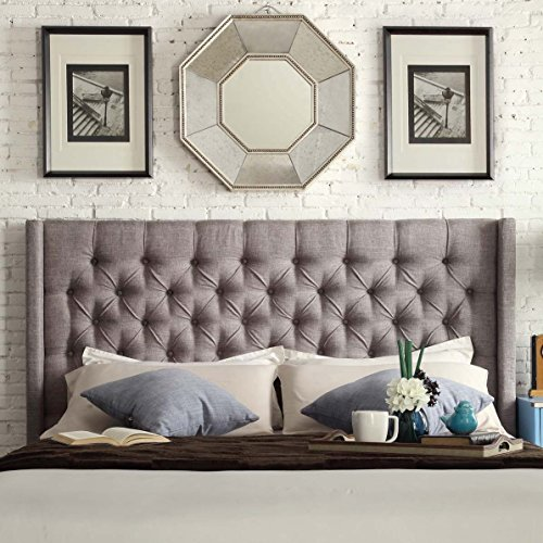 ModHaus Living Modern Linen Upholstered Tufted Button King Sized Wingback Headboard - Includes Pen (Grey Linen)