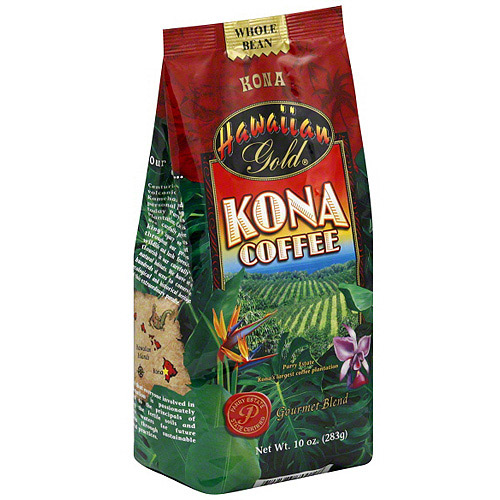 Hawaiian Gold Kona Coffee Beans, 10 oz (Pack of 6)